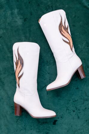 White Cowboy Boots with Fire Design