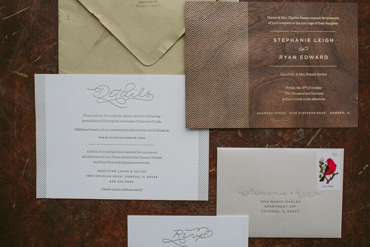 Ryan put his design skills to work, creating the invitation suite for the wedding himself. The main invitation featured a wood grain backdrop with gold lettering, while the RSVP card and details card were decorated with whimsical letterpress fonts and linear borders.