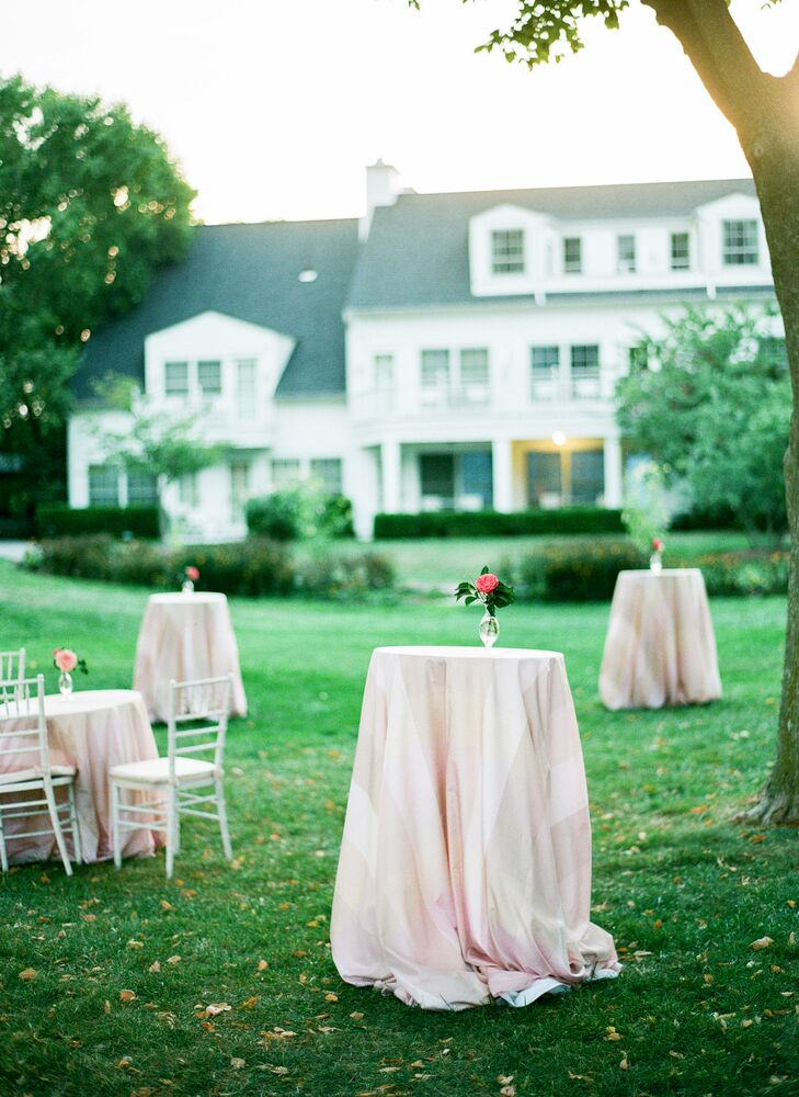 """After Kathryn and Ryan said """"I do,"""" guests sipped on refreshing beverages during a garden cocktail party before making their way to the tented reception."""
