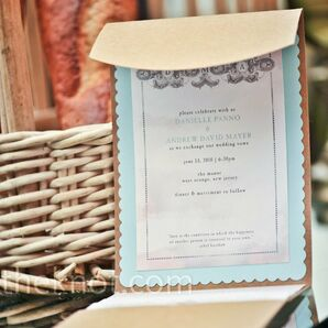 Blue and Tan Invitations