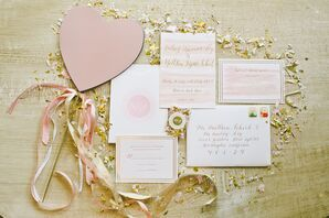 Romantic Pink, Ivory and Gold Invitations