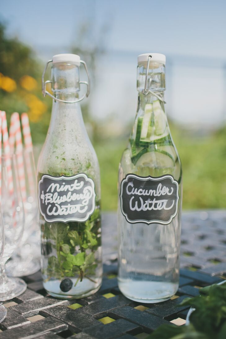 Fresh flavored bottled water, with mint and  blueberry or cucumber, was served to guests during the cocktail hour.