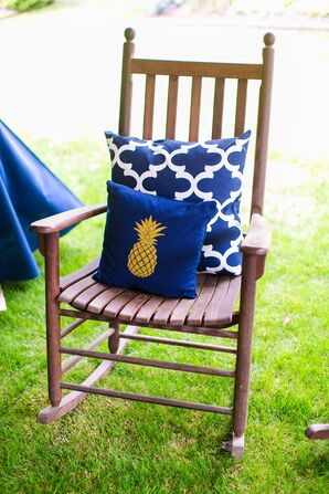 Navy and Gold Pineapple Throw Pillow