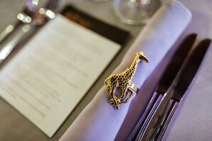 Modern Place Setting with Gold Giraffe Napkin Rings