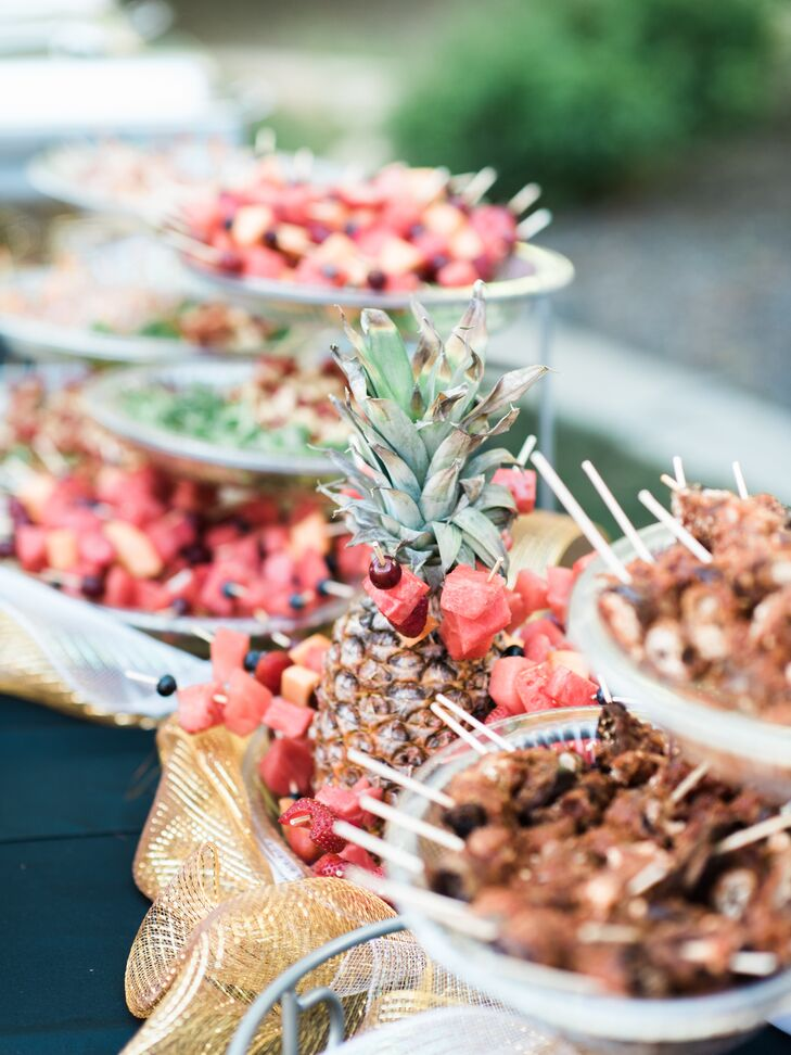At the reception at Kassi's parents' home in Verdi, Nevada, guests snacked on meatballs—one of Mark's favorite appetizers.