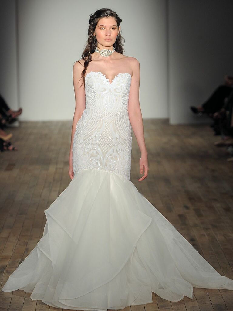b32a2b527647b Blush by Hayley Paige Spring 2018: White trumpet gown with sweetheart  neckline and geometic embroidery