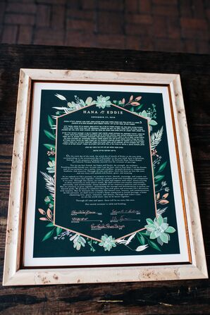 Jewish Ketubah with Flower Details