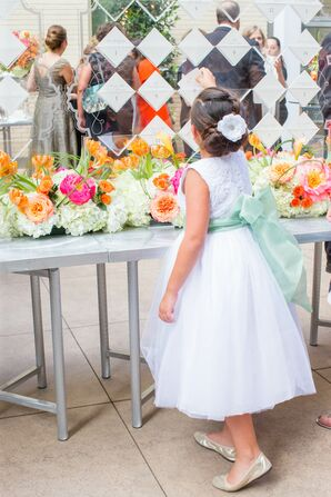 White Flower Girl Dresses With Big Green Bow