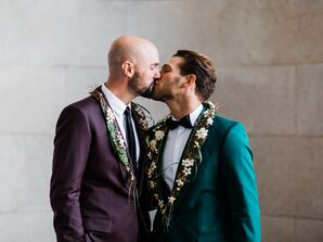 Grooms Wearing Purple and Green Jackets