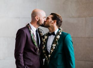 "Mike Muldoon (left) and Mario Elias tied the knot in The Green Room at the San Francisco War Memorial. ""We had been together for six years already—eng"
