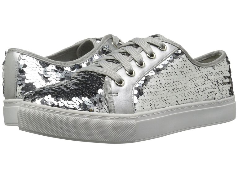 Silver sequin wedding shoes