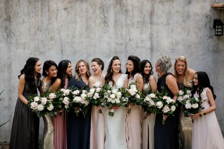Modern Bridesmaids with Mismatched Jewel-Toned Dresses and Bouquets