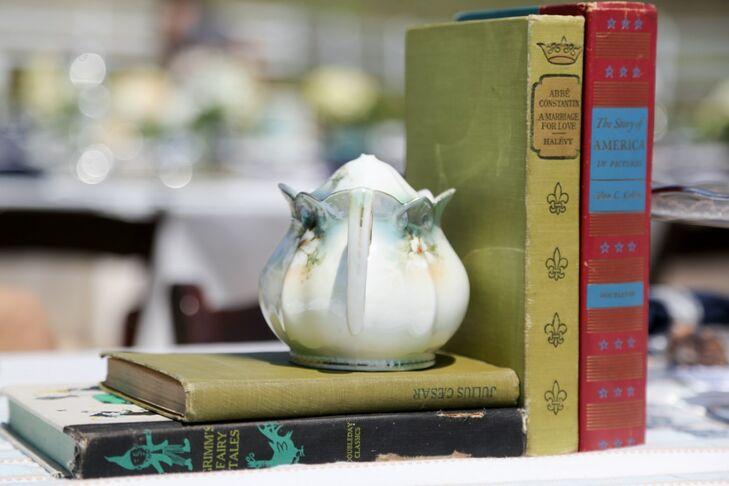 Teapot and Vintage Book Centerpieces