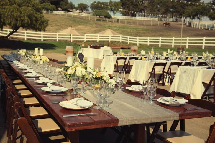 Long Wedding Reception Farm Tables