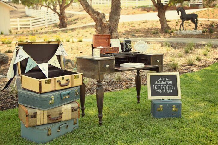 Antique Desk and Suitcase Wedding Decor
