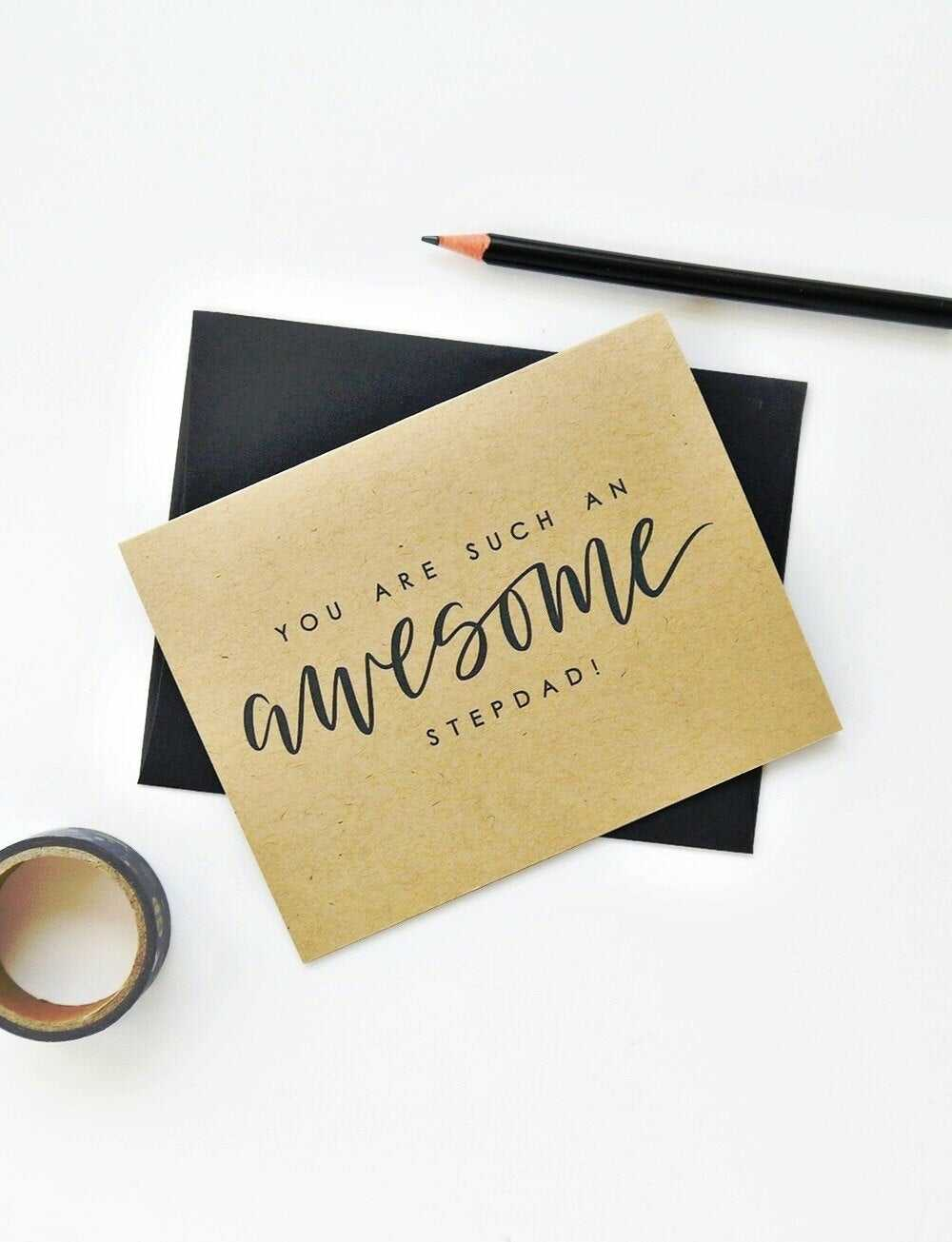 "brown card with phrase ""you are such an awesome step-dad"""