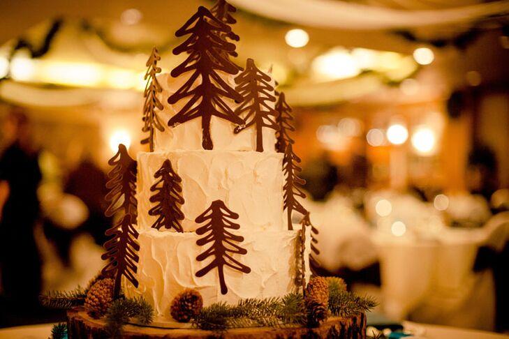 Chocolate Pine Tree Wedding Cake