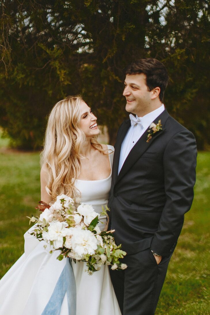 Classic Couple with Silk Dress, Black Tuxedo and White Bouquet