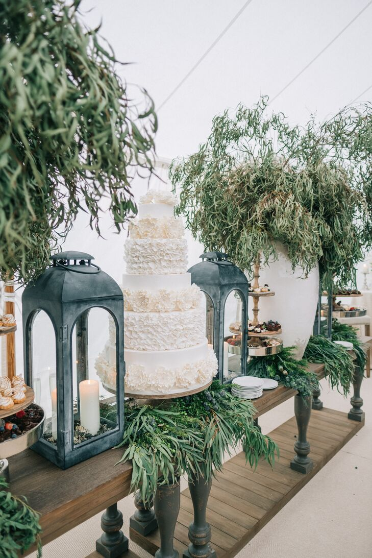 Round White Wedding Cake with Ruffled Tiers