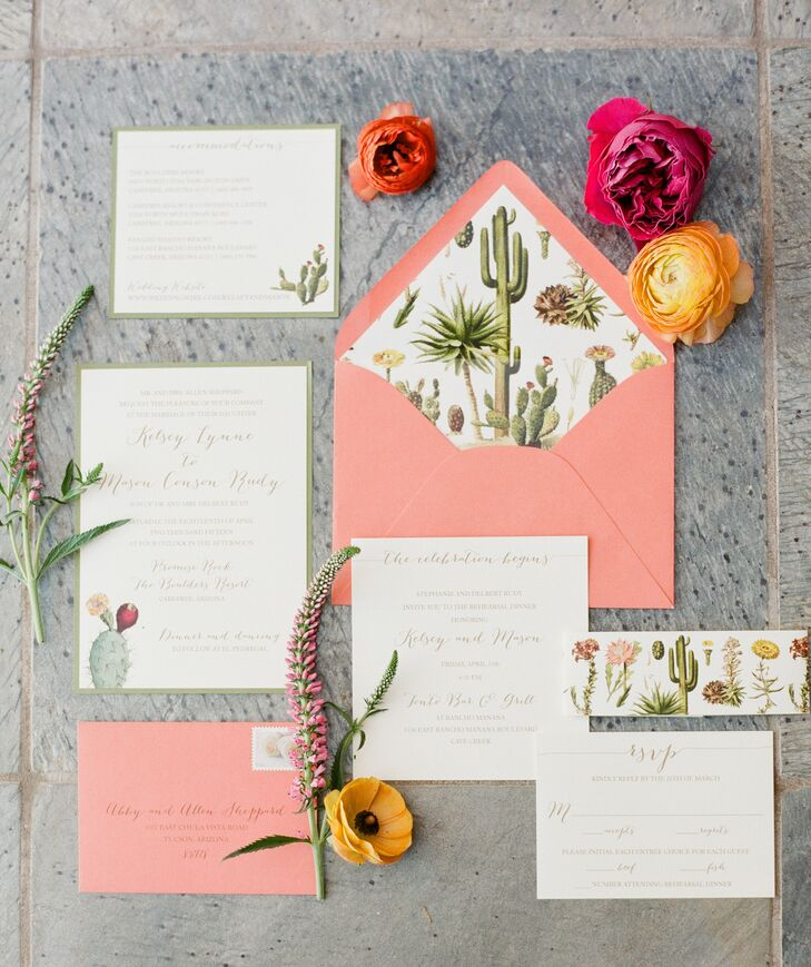 """Our invitations set the tone of what our Arizona wedding would be like, including details of cactus and our palette. We used similar detail on our menu cards and ceremony cards,"" Kelsey says."