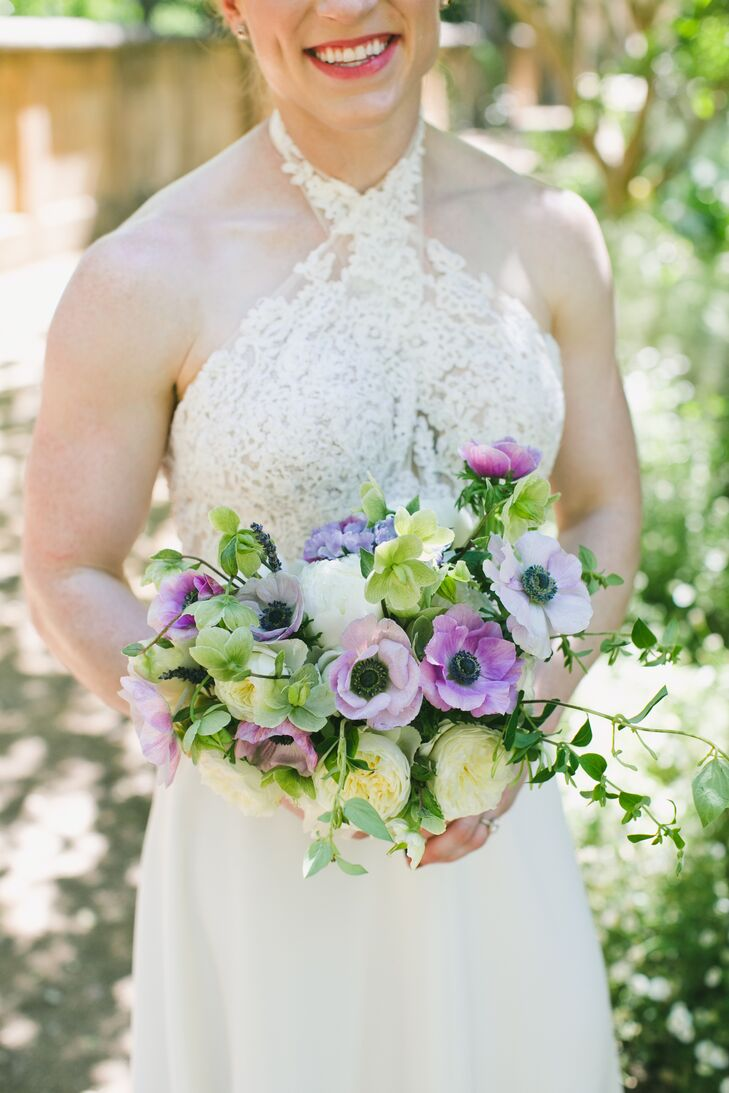 Romantic Bouquet with Purple Anemones, Peonies and Greenery