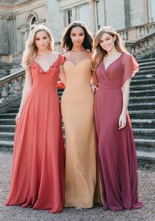 warm toned chiffon bridesmaid dresses