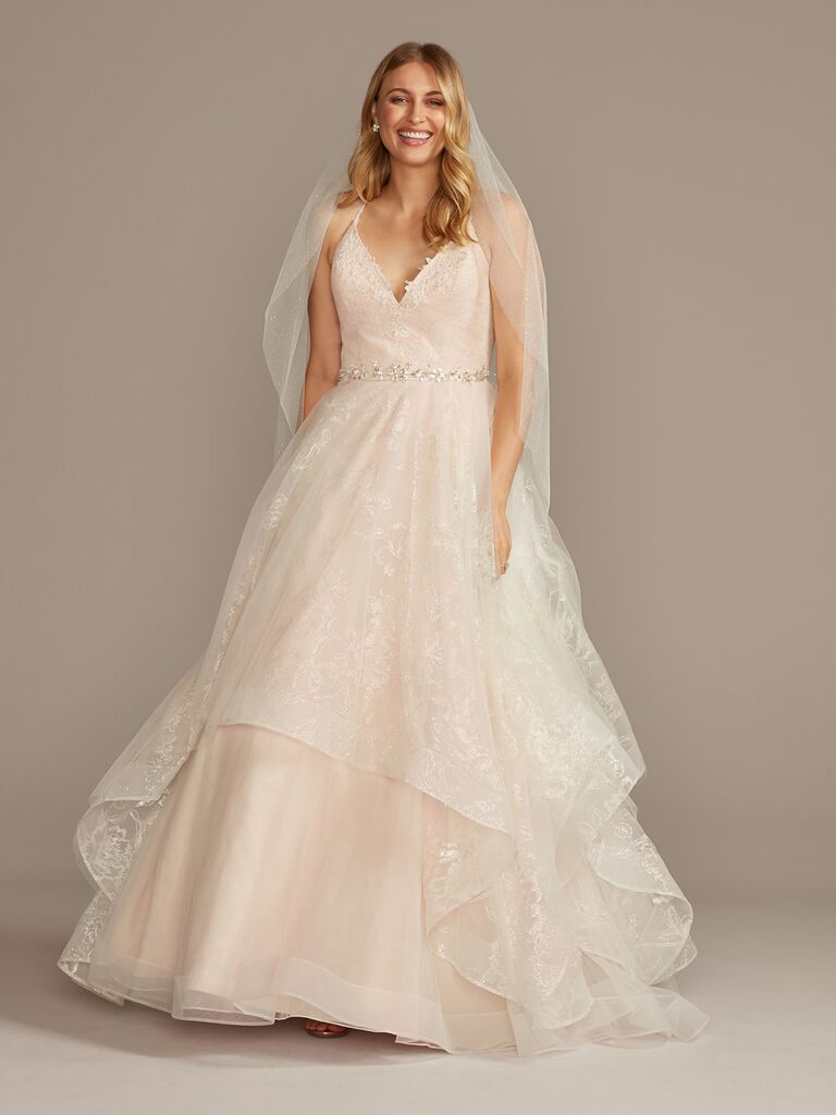 David's Bridal blush ball gown wedding dress