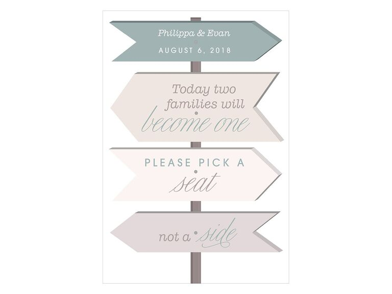 Pick a seat not a side budget friendly wedding poster