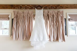 Blush, Satin, Twist-Front Bridesmaid Dresses