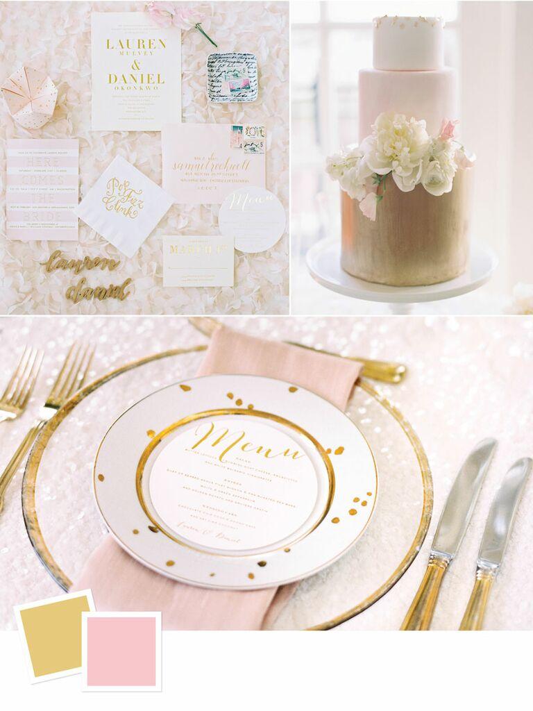Blush and gold summer wedding color palette