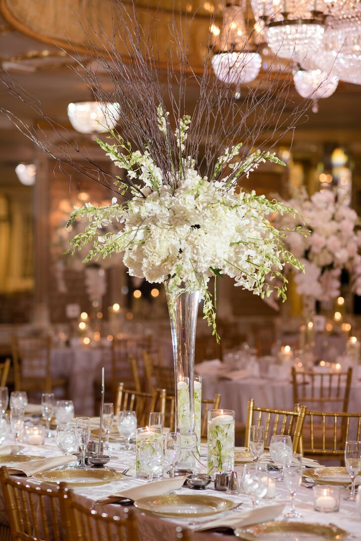 Tall White Centerpiece for Reception at Leonard's Palazzo in Great Neck, New York