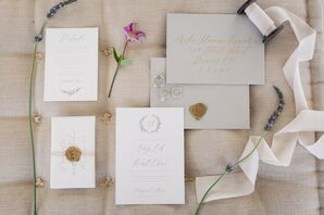 Minimal Invitation with Gold Calligraphy and Wax Seal