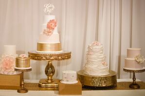 White, Blush and Gold Dessert Table With Seven Cakes