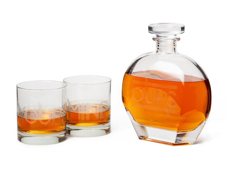 Art Deco glassware set of decanter and two glasses that read Ours, Mine and Yours