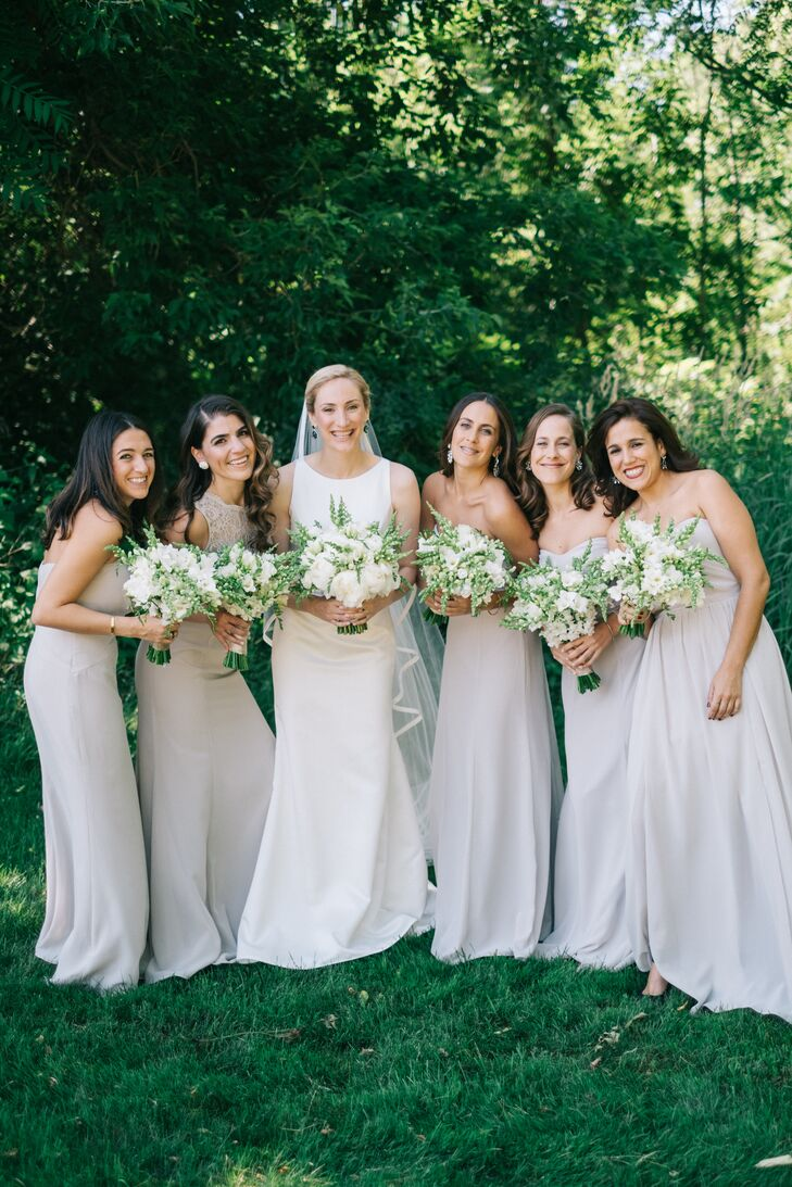 Strapless Pale Gray Chiffon Bridesmaid Dresses