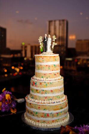 Unfrosted Wedding Cake with Sprinkles