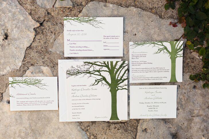 Green Tree Motif Wedding Invitations