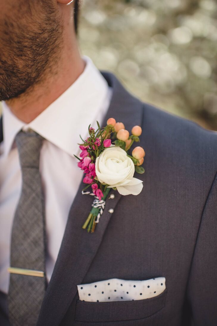 White and Pink Ranunculus Boutonniere