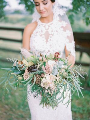 Greenery-Filled Bouquet for Wedding at Lauxmont Farms in Wrightsville, Pennsylvania