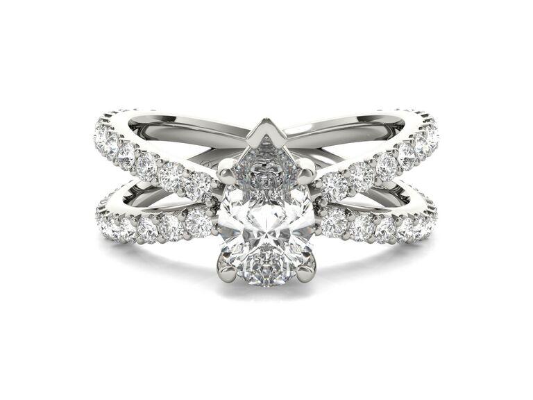 Ritani open band diamond engagement ring in platinum