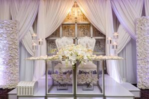Glamorous Sweetheart Table with White Roses