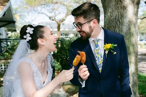Modern Couple with Flower Veil and Whimsical Patterned Tie