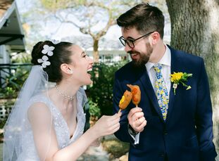 """When planning their personalized, whimsical wedding, Emily Freeman and Miguel Palacios were inspired by board games. """"We have game nights with our clo"""