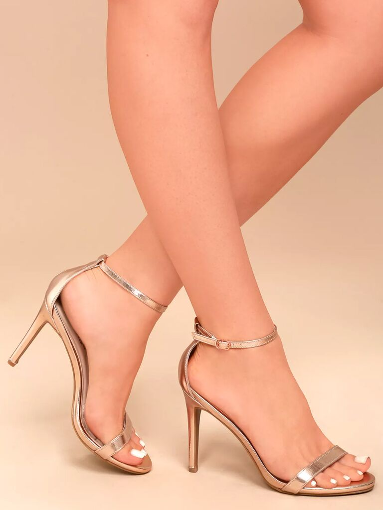 Lulus Loveliness rose gold ankle strap heels