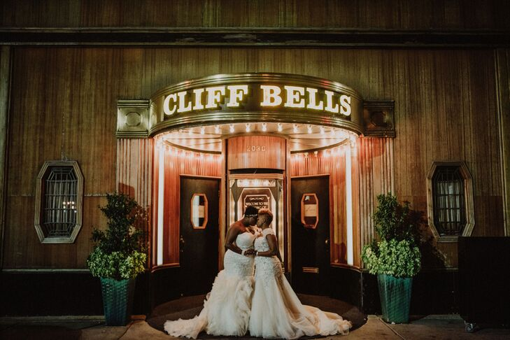 Brides Outside Cliff Bell's Restaurant  in Detroit