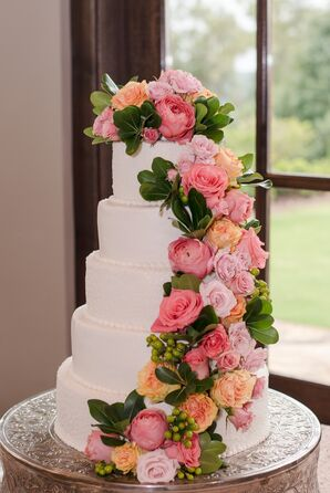 Cascading Pink Roses on White Wedding Cake