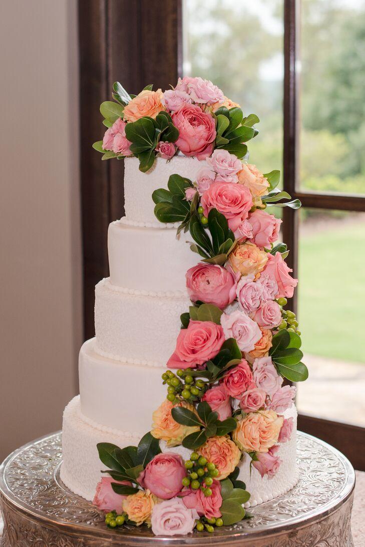 Cascading Pink Roses on White Wedding Cake