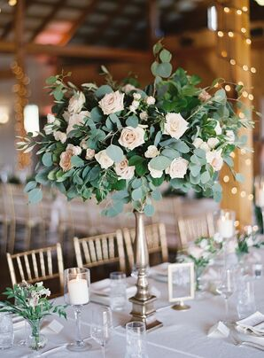 Tall Centerpiece with Roses and Eucalyptus