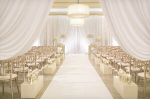 Glamorous Ceremony with White Drapes, Modern Aisle Decorations and Floating Candles