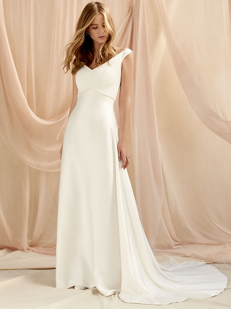 Savannah Miller A-line wedding dress with bateau neckline